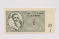 1991.181.1 front Theresienstadt ghetto-labor camp scrip, 1 krone note  Click to enlarge