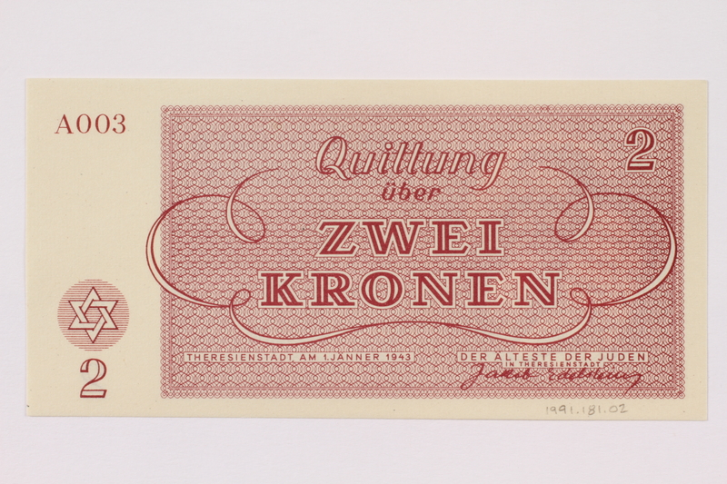 1991.181.2 back Theresienstadt ghetto-labor camp scrip, 2 kronen note
