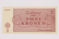 1991.181.2 back Theresienstadt ghetto-labor camp scrip, 2 kronen note  Click to enlarge