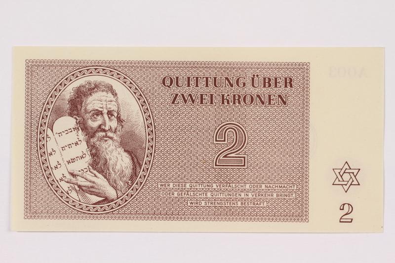 1991.181.2 front Theresienstadt ghetto-labor camp scrip, 2 kronen note