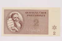 1991.181.2 front Theresienstadt ghetto-labor camp scrip, 2 kronen note  Click to enlarge