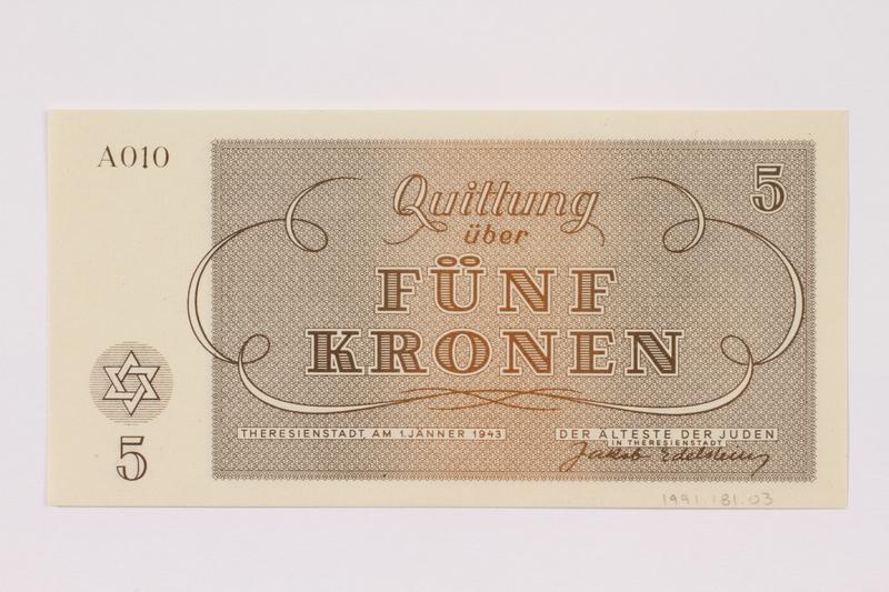 1991.181.3 back Theresienstadt ghetto-labor camp scrip, 5 kronen note