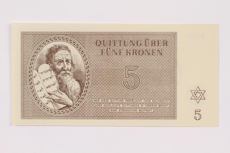 1991.181.3 front Theresienstadt ghetto-labor camp scrip, 5 kronen note