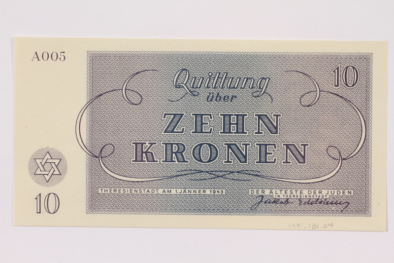 1991.181.4 back Theresienstadt ghetto-labor camp scrip, 10 kronen note