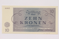 1991.181.4 back Theresienstadt ghetto-labor camp scrip, 10 kronen note  Click to enlarge