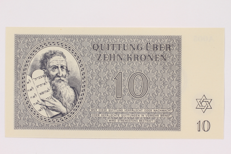 1991.181.4 front Theresienstadt ghetto-labor camp scrip, 10 kronen note