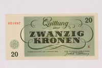 1991.181.5 back Theresienstadt ghetto-labor camp scrip, 20 kronen note  Click to enlarge