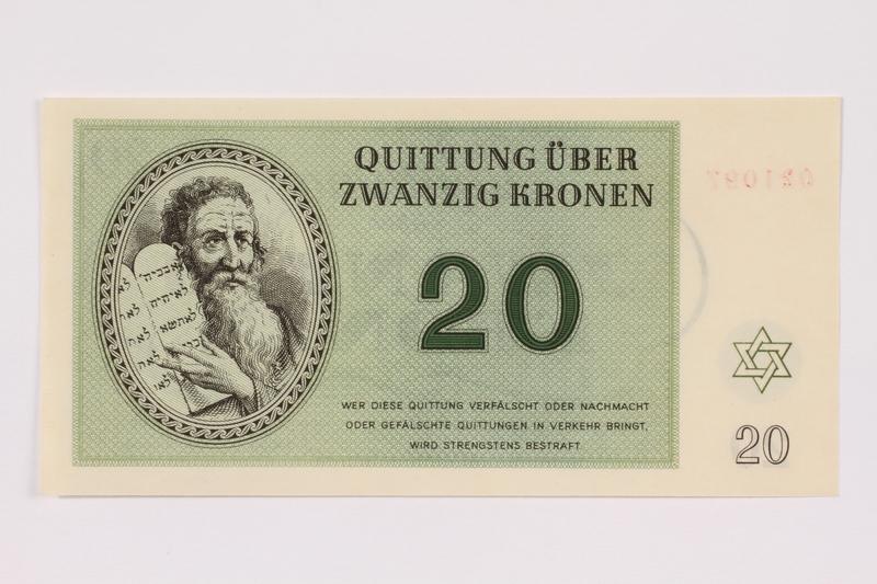 1991.181.5 front Theresienstadt ghetto-labor camp scrip, 20 kronen note