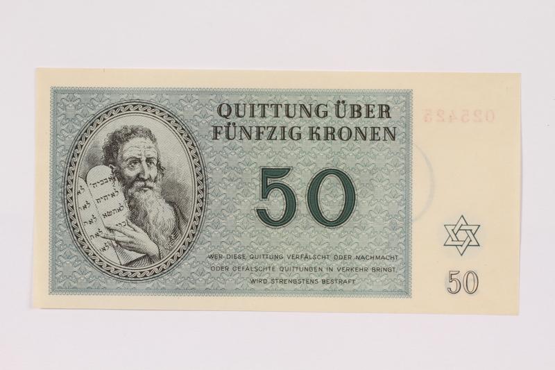 1991.181.6 front Theresienstadt ghetto-labor camp scrip, 50 kronen note