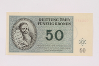 1991.181.6 front Theresienstadt ghetto-labor camp scrip, 50 kronen note  Click to enlarge