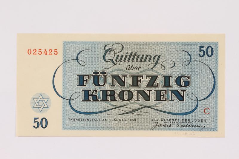 1991.181.6 back Theresienstadt ghetto-labor camp scrip, 50 kronen note