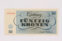 1991.181.6 back Theresienstadt ghetto-labor camp scrip, 50 kronen note  Click to enlarge
