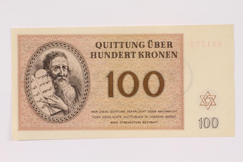 1991.181.7 front Theresienstadt ghetto-labor camp scrip, 100 kronen note