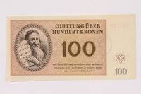 1991.181.7 front Theresienstadt ghetto-labor camp scrip, 100 kronen note  Click to enlarge