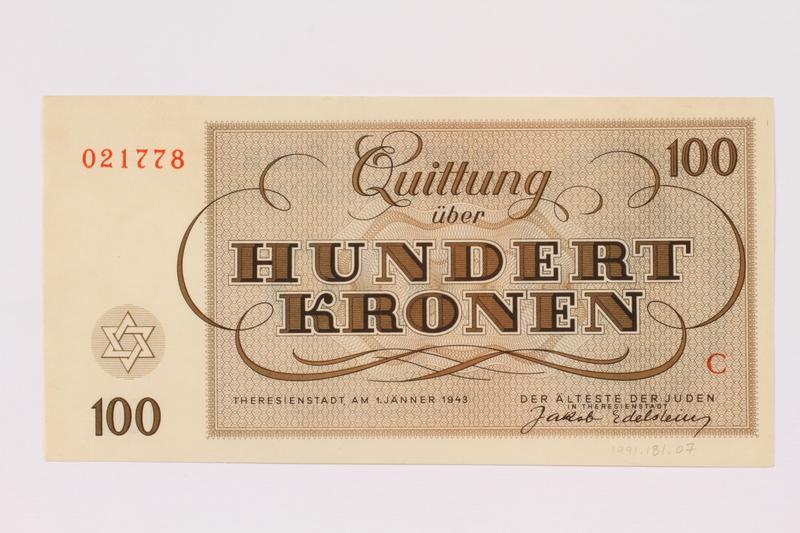 1991.181.7 back Theresienstadt ghetto-labor camp scrip, 100 kronen note