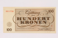 1991.181.7 back Theresienstadt ghetto-labor camp scrip, 100 kronen note  Click to enlarge