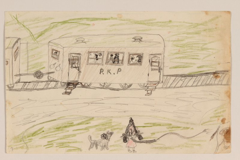 2009.204.26 front Color drawing of a girl and a train created by a hidden child