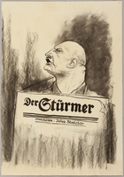 1991.182.10 front Anti-Nazi drawing published in the PM newspaper  Click to enlarge