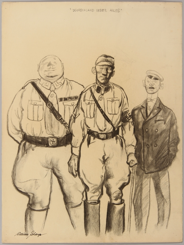 1991.182.13 front Anti-Nazi drawing published in the PM newspaper