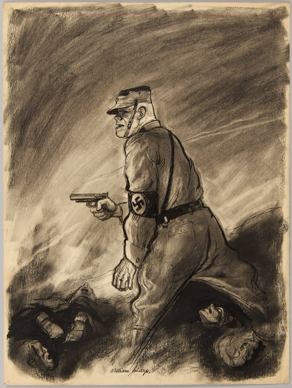 1991.182.15 front Anti-Nazi drawing published in the PM newspaper