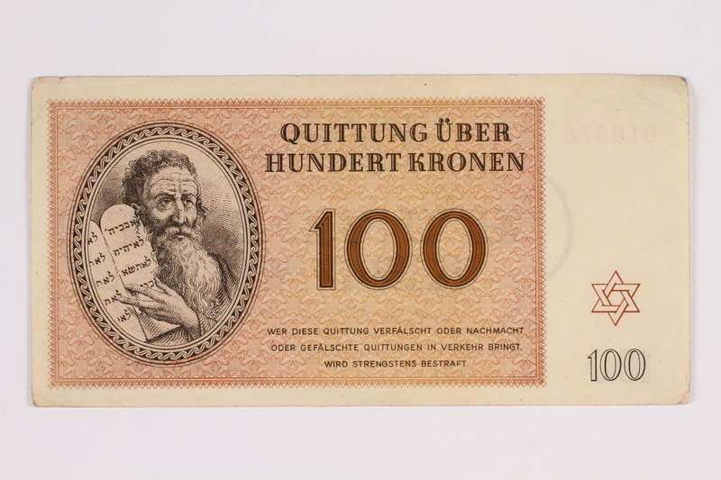 2012.168.1 front Theresienstadt ghetto-labor camp scrip, 100 kronen note