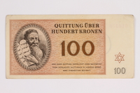 2012.168.1 front Theresienstadt ghetto-labor camp scrip, 100 kronen note  Click to enlarge