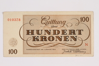 2012.168.1 back Theresienstadt ghetto-labor camp scrip, 100 kronen note  Click to enlarge