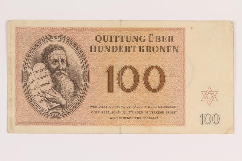 2012.168.2 front Theresienstadt ghetto-labor camp scrip, 100 kronen note