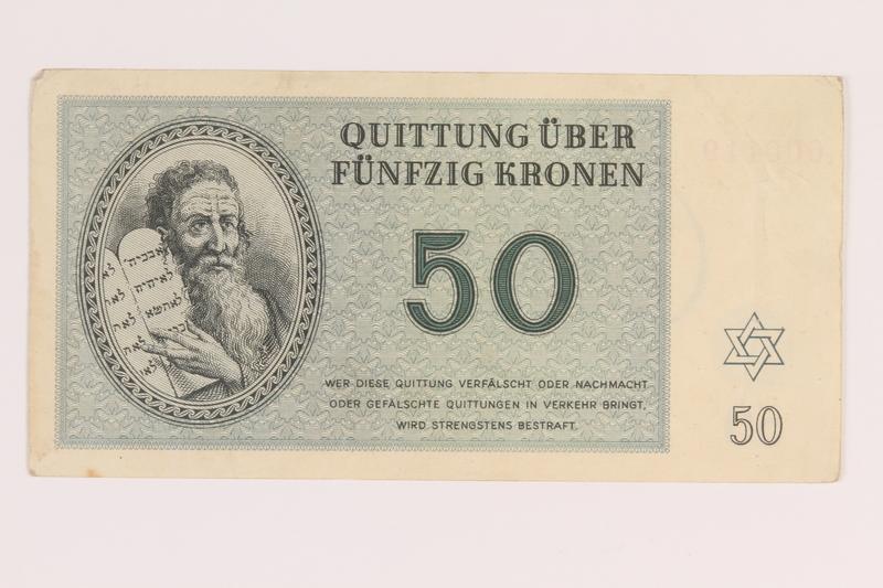 2012.168.3 front Theresienstadt ghetto-labor camp scrip, 50 kronen note