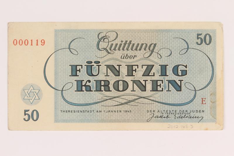 2012.168.3 back Theresienstadt ghetto-labor camp scrip, 50 kronen note