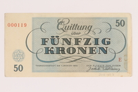 2012.168.3 back Theresienstadt ghetto-labor camp scrip, 50 kronen note  Click to enlarge