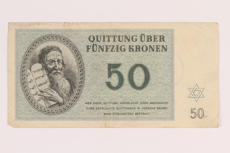 2012.168.4 front Theresienstadt ghetto-labor camp scrip, 50 kronen note