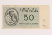 2012.168.4 front Theresienstadt ghetto-labor camp scrip, 50 kronen note  Click to enlarge