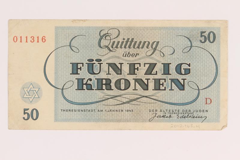 2012.168.4 back Theresienstadt ghetto-labor camp scrip, 50 kronen note