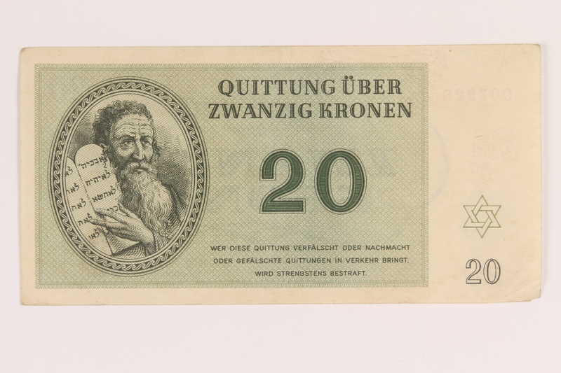2012.168.5 front Theresienstadt ghetto-labor camp scrip, 20 kronen note