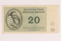 2012.168.5 front Theresienstadt ghetto-labor camp scrip, 20 kronen note  Click to enlarge