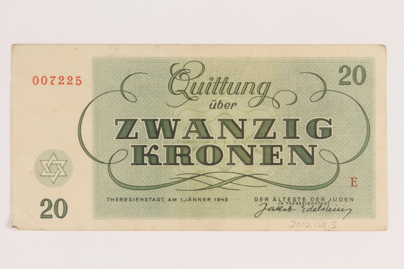 2012.168.5 back Theresienstadt ghetto-labor camp scrip, 20 kronen note