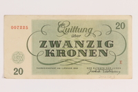 2012.168.5 back Theresienstadt ghetto-labor camp scrip, 20 kronen note  Click to enlarge