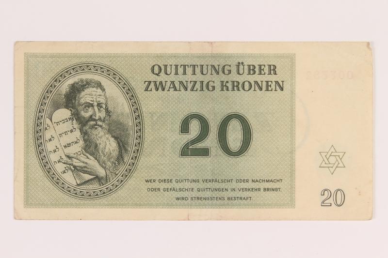 2012.168.6 front Theresienstadt ghetto-labor camp scrip, 20 kronen note