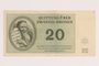 Theresienstadt ghetto-labor camp scrip, 20 kronen note