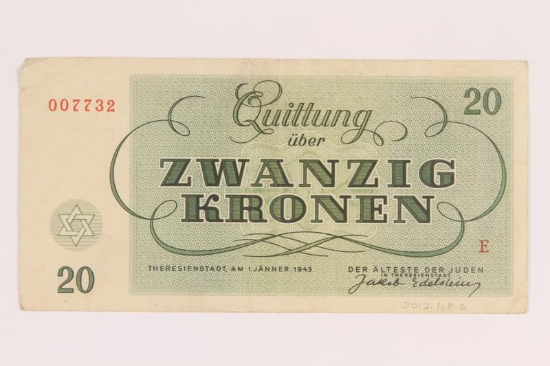 2012.168.6 back Theresienstadt ghetto-labor camp scrip, 20 kronen note