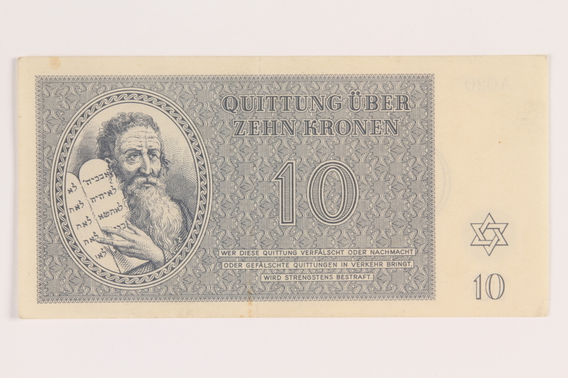 2012.168.7 front Theresienstadt ghetto-labor camp scrip, 10 kronen note