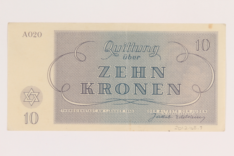 2012.168.7 back Theresienstadt ghetto-labor camp scrip, 10 kronen note