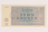 2012.168.7 back Theresienstadt ghetto-labor camp scrip, 10 kronen note  Click to enlarge