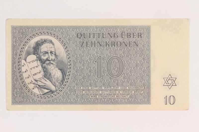2012.168.8 front Theresienstadt ghetto-labor camp scrip, 10 kronen note