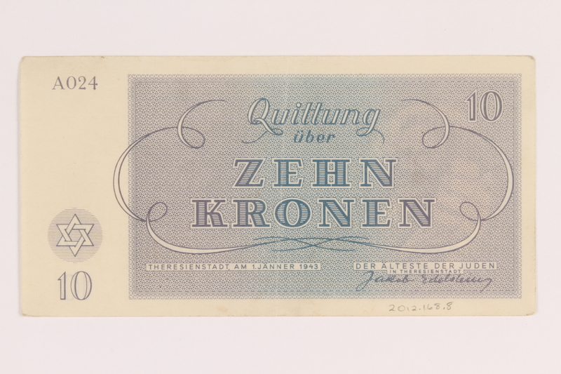 2012.168.8 back Theresienstadt ghetto-labor camp scrip, 10 kronen note