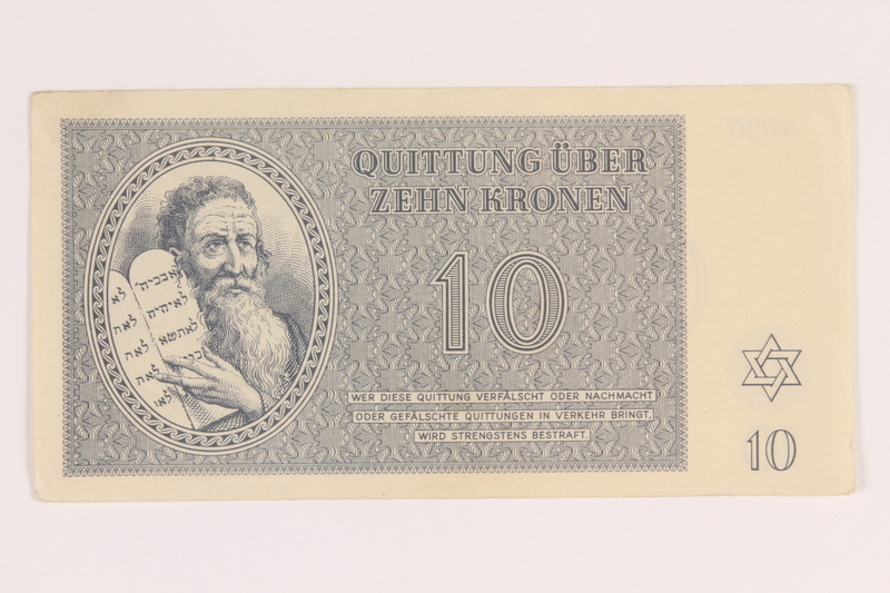 2012.168.9 front Theresienstadt ghetto-labor camp scrip, 10 kronen note