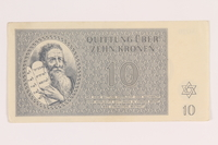 2012.168.9 front Theresienstadt ghetto-labor camp scrip, 10 kronen note  Click to enlarge