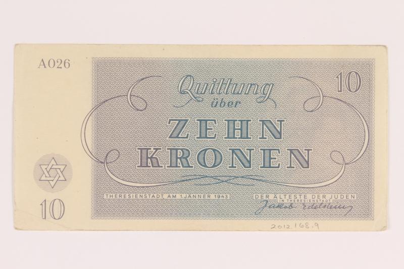 2012.168.9 back Theresienstadt ghetto-labor camp scrip, 10 kronen note