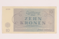 2012.168.9 back Theresienstadt ghetto-labor camp scrip, 10 kronen note  Click to enlarge